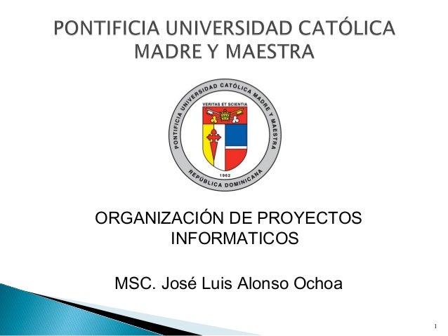 ORGANIZACIÓN DE PROYECTOS INFORMATICOS MSC. José Luis Alonso Ochoa 1