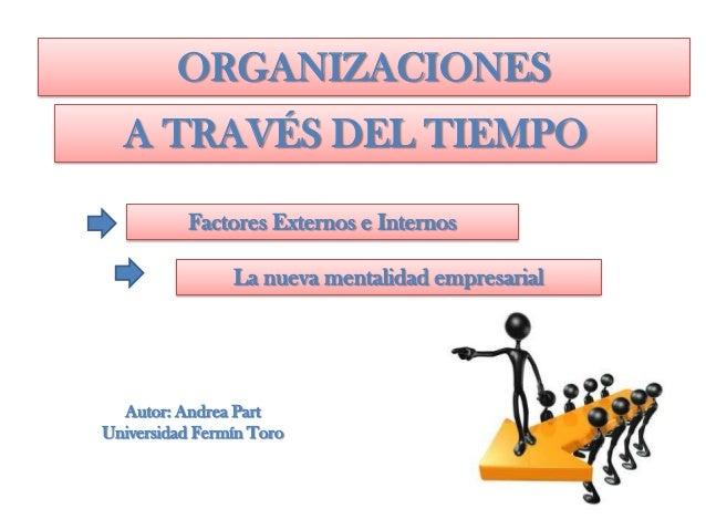 Factores Externos e Internos La nueva mentalidad empresarial Autor: Andrea Part Universidad Fermín Toro ORGANIZACIONES A T...