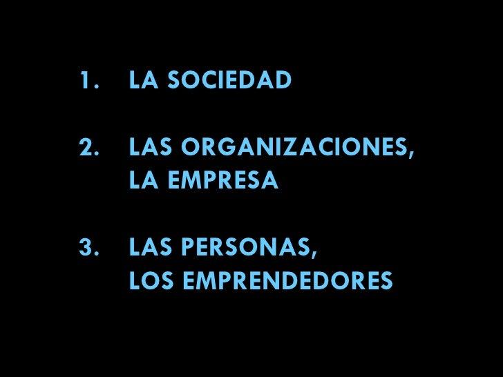 1. LA SOCIEDAD 2. LAS ORGANIZACIONES, LA EMPRESA 3. LAS PERSONAS, LOS EMPRENDEDORES