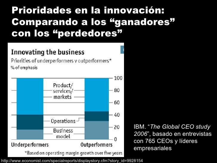 """IBM. """" The Global CEO study 2006 """", basado en entrevistas con 765 CEOs y líderes empresariales  Prioridades en la innovaci..."""