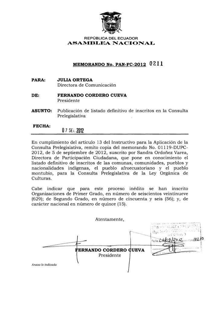 REPÚBLICA DEL ECUADOR                        ASAMBLEA NACIONAL                           MEMORANDO No. PAN-FC-2012        ...