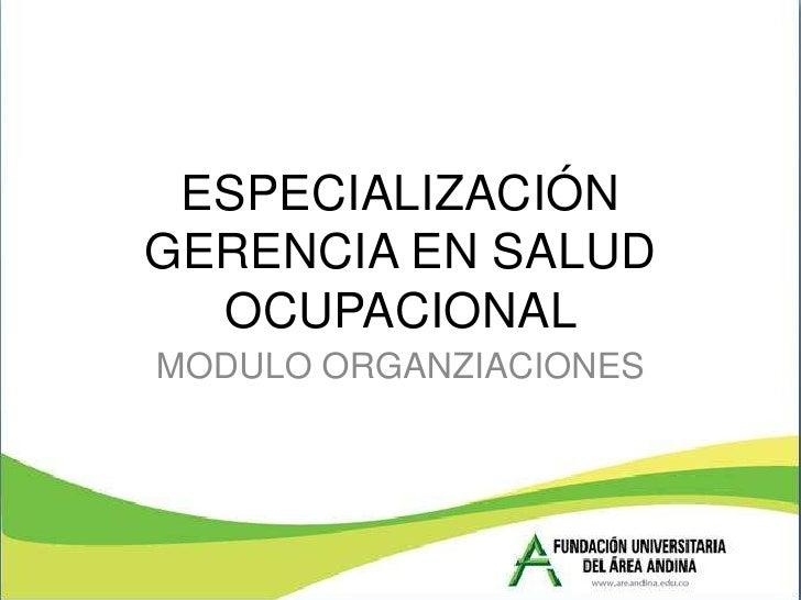 ESPECIALIZACIÓNGERENCIA EN SALUD  OCUPACIONALMODULO ORGANZIACIONES