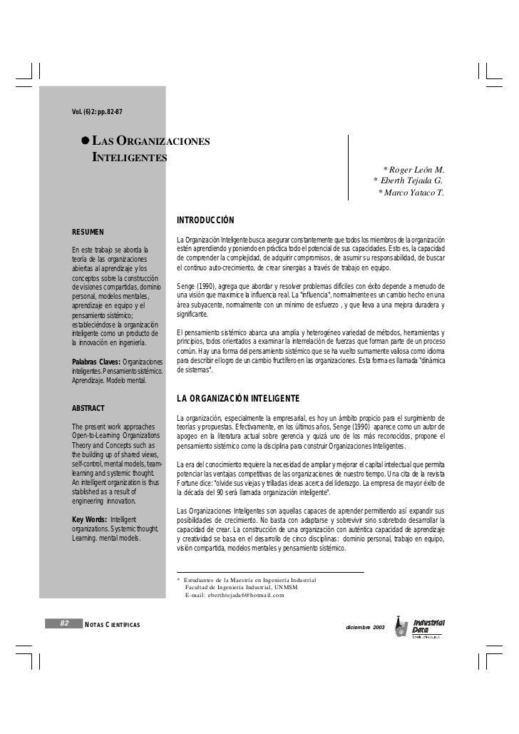 Vol. (6) 2: pp. 82-87             LAS ORGANIZACIONES             INTELIGENTES                                             ...