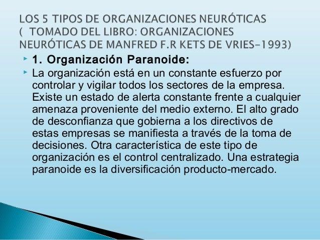    1. Organización Paranoide: La organización está en un constante esfuerzo por controlar y vigilar todos los sectores d...