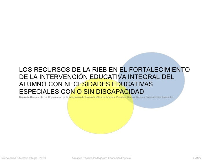 LOS RECURSOS DE LA RIEB EN EL FORTALECIMIENTO              DE LA INTERVENCIÓN EDUCATIVA INTEGRAL DEL              ALUMNO C...