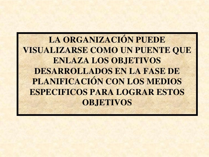 LA ORGANIZACIÓN PUEDE VISUALIZARSE COMO UN PUENTE QUE       ENLAZA LOS OBJETIVOS   DESARROLLADOS EN LA FASE DE   PLANIFICA...