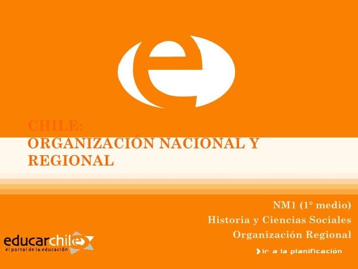CHILE:ORGANIZACIÓN NACIONAL YREGIONAL                              NM1 (1° medio)                 Historia y Ciencias Soci...