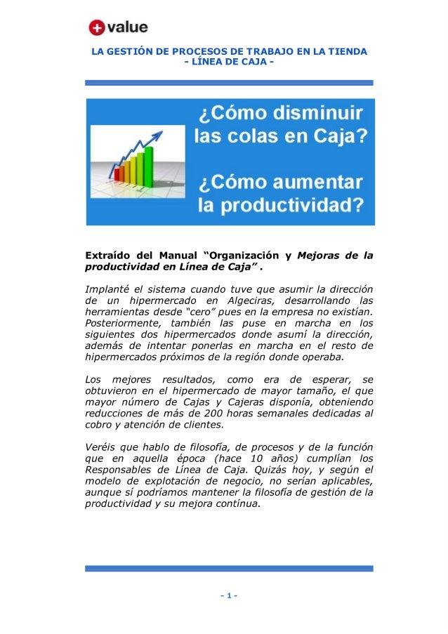 Organización y Mejoras de la productividad en Linea de Caja