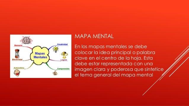 MAPA MENTAL En los mapas mentales se debe colocar la idea principal o palabra clave en el centro de la hoja. Esta debe est...