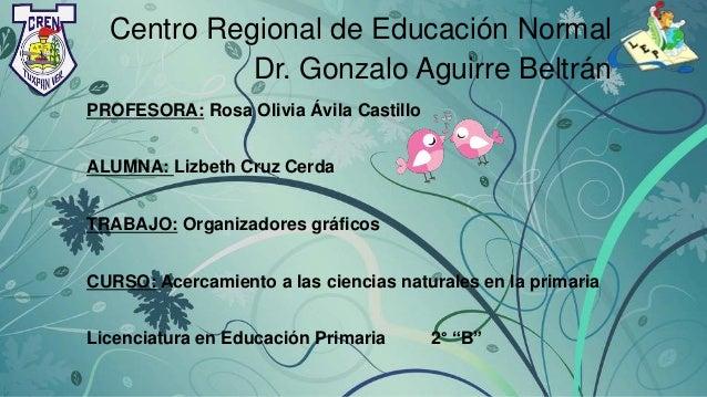 Centro Regional de Educación Normal Dr. Gonzalo Aguirre Beltrán PROFESORA: Rosa Olivia Ávila Castillo ALUMNA: Lizbeth Cruz...
