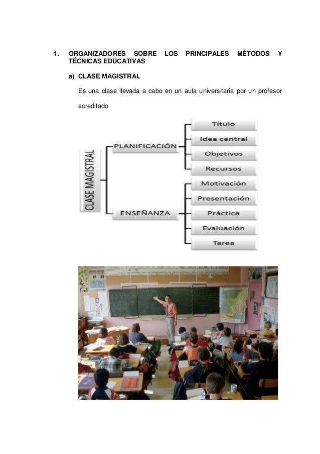 1. ORGANIZADORES SOBRE LOS PRINCIPALES MÉTODOS Y TÉCNICAS EDUCATIVAS  a) CLASE MAGISTRAL  Es una clase llevada a cabo en u...