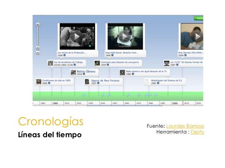 Cronologías<br />Líneas del tiempo<br />Fuente: Lourdes Barroso<br />Herramienta : Dipity<br />