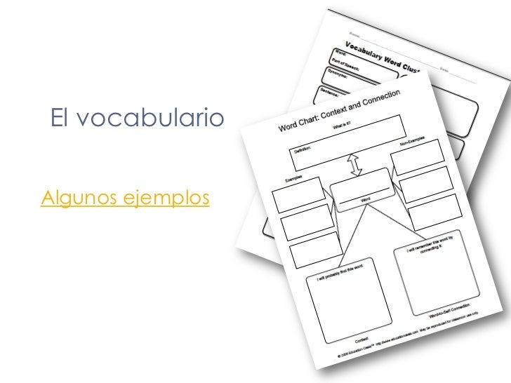 El vocabulario<br />Algunos ejemplos<br />