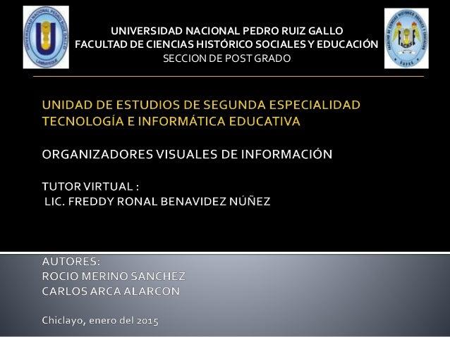UNIVERSIDAD NACIONAL PEDRO RUIZ GALLO FACULTAD DE CIENCIAS HISTÓRICO SOCIALESY EDUCACIÓN SECCION DE POST GRADO