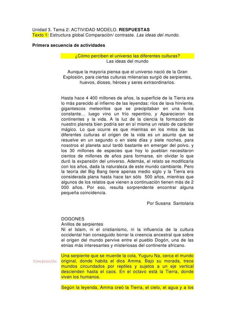 Unidad 3. Tema 2: ACTIVIDAD MODELO. RESPUESTAS Texto 1: Estructura global Comparación/ contraste. Las ideas del mundo.  Pr...