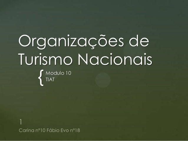 Organizações de Turismo Nacionais  {  Modulo 10 TIAT
