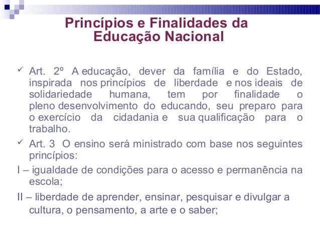 Princípios e Finalidades da Educação Nacional  Art. 2º A educação, dever da família e do Estado, inspirada nos princípios...