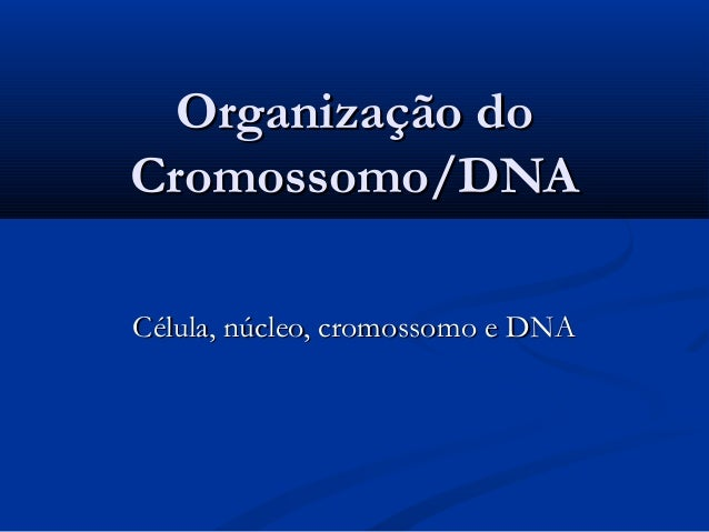 Organização doOrganização do Cromossomo/DNACromossomo/DNA Célula, núcleo, cromossomo e DNACélula, núcleo, cromossomo e DNA