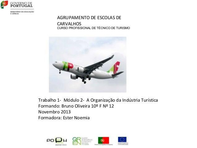 AGRUPAMENTO DE ESCOLAS DE CARVALHOS  CURSO PROFISSIONAL DE TÉCNICO DE TURISMO  Trabalho 1- Módulo 2- A Organização da Indú...
