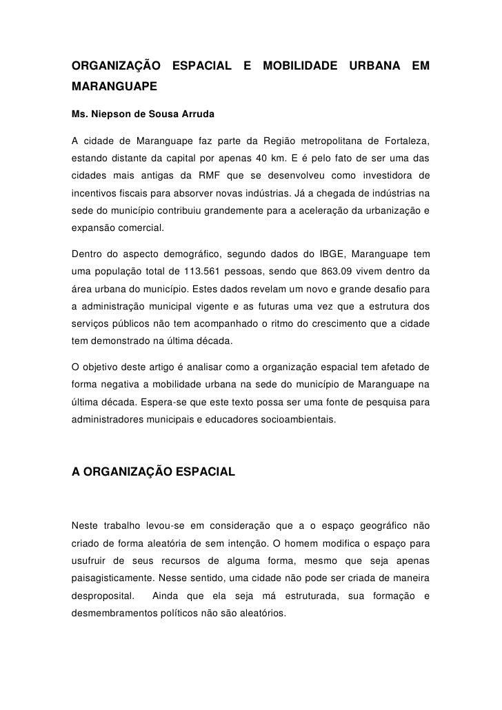 ORGANIZAÇÃO ESPACIAL E                    MOBILIDADE URBANA EMMARANGUAPEMs. Niepson de Sousa ArrudaA cidade de Maranguape ...