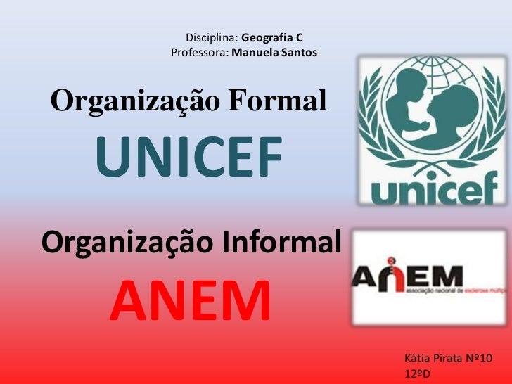 Disciplina: Geografia C        Professora: Manuela SantosOrganização Formal   UNICEFOrganização Informal    ANEM          ...