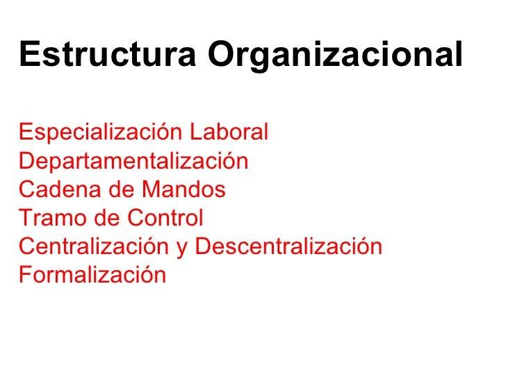 Especialización Laboral Departamentalización Cadena de Mandos Tramo de Control Centralización y Descentralización Formaliz...