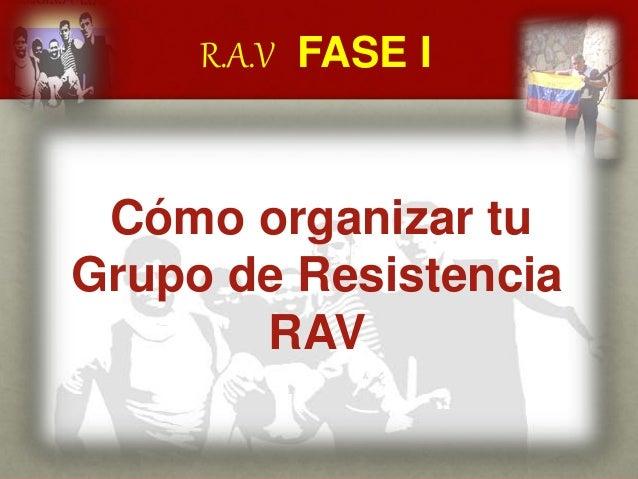 R.A.V FASE I CUÁL ES EL MENSAJE DEL GENERAL VIVAS? Cómo organizar tu Grupo de Resistencia RAV