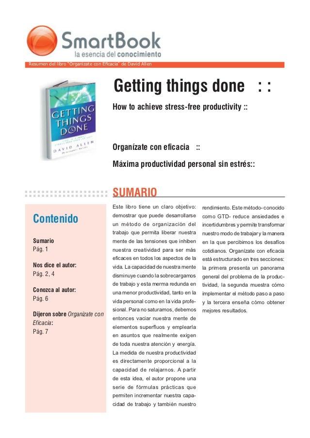 """Resumen del libro """"Organìzate con Eficacia"""" de David Allen                                       Getting things done : :   ..."""