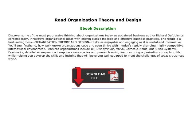 Read Organization Theory And Design