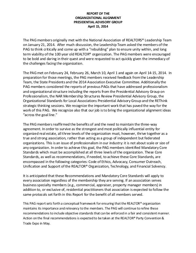REPORT OF THE ORGANIZATIONAL ALIGNMENT PRESIDENTIAL ADVISORY GROUP April 15, 2014 The PAG members originally met with the ...