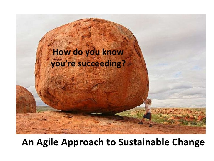 How do you know      you're succeeding?An Agile Approach to Sustainable Change