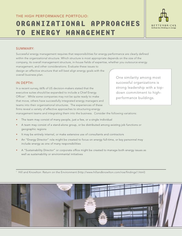 THE HIGH PERFORMANCE PORTFOLIO:  ORGANIZATIONAL APPROACHES TO ENERGY MANAGEMENT SUMMARY: Successful energy management requ...