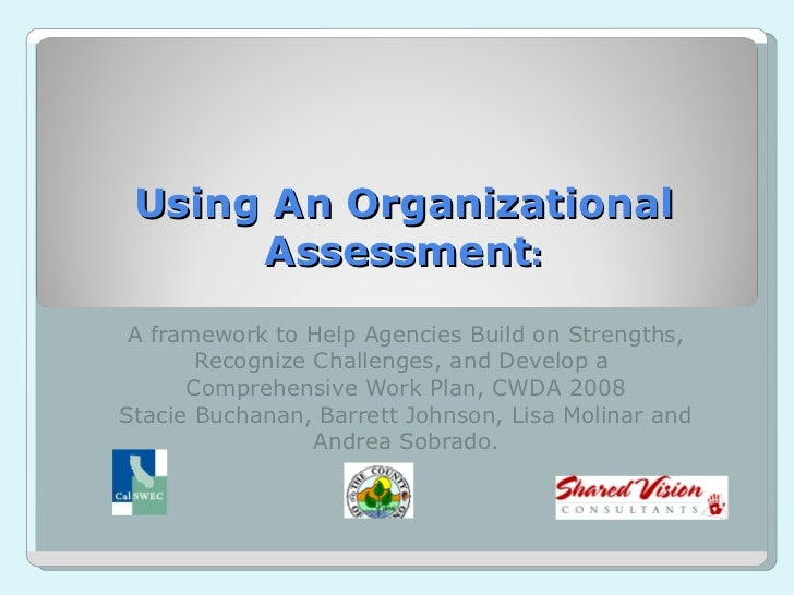 Using An Organizational Assessment : A framework to Help Agencies Build on Strengths, Recognize Challenges, and Develop a ...