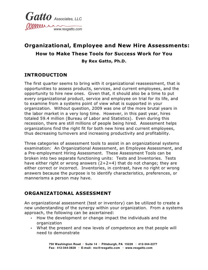 Organizational, Employee and New Hire Assessments:      How to Make These Tools for Success Work for You             ...