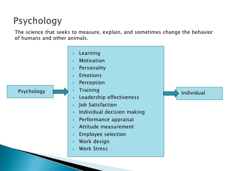 Psychology<br />The science that seeks to measure, explain, and sometimes change the behavior of humans and other animals....