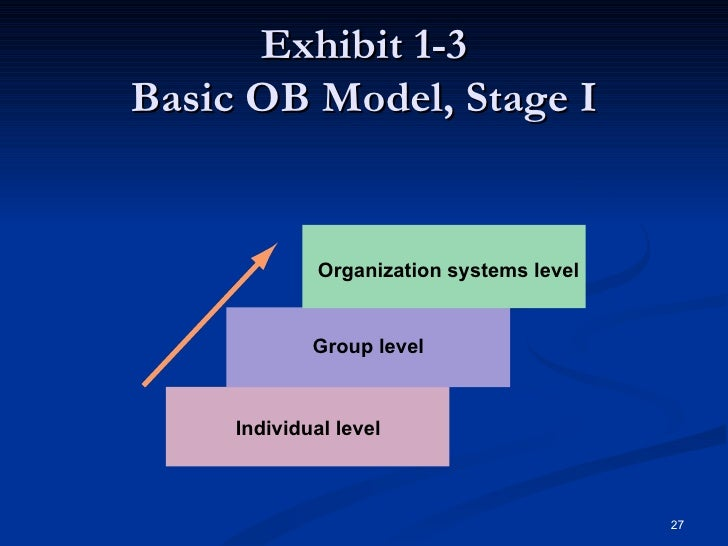 the three levels of analysis in our organizational behaviour model Organizational behavior models help you craft strategies to get employees to perform a certain way in certain situations as the company leader, providing employees with an environment to succeed.