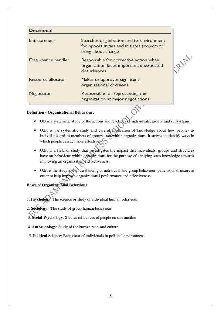 Organizational behavior Slide 3