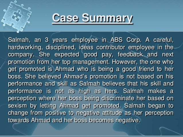 Case Study for Human Behavior in Organization by Harvey ...
