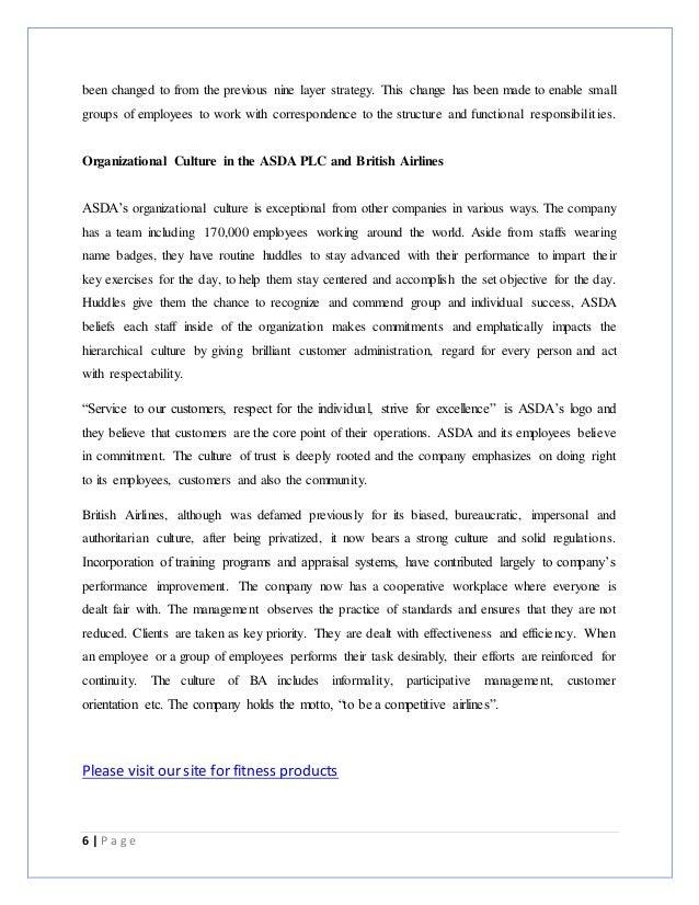 Organisational Behaviour Assignment – British Airways & ASDA