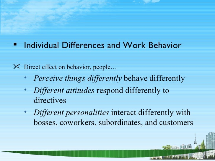 individual differences in organization Individual differences and organizational behavior individuals are unique in terms of their skills, abilities, personalities, perceptions, attitudes, emotions, and ethics individual differences represent the essence of the challenge of management, because no two people are completely alike there are four basic propositions of interactional.