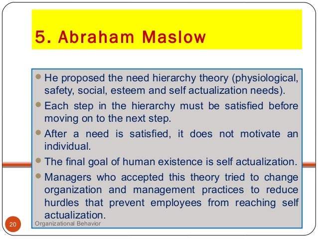 contribution of abraham maslow to management theory
