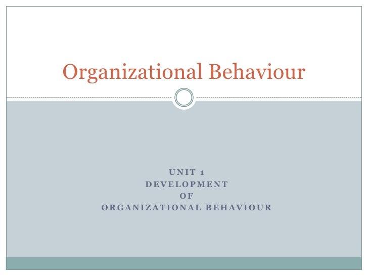 Organisational behaviour an overview of various
