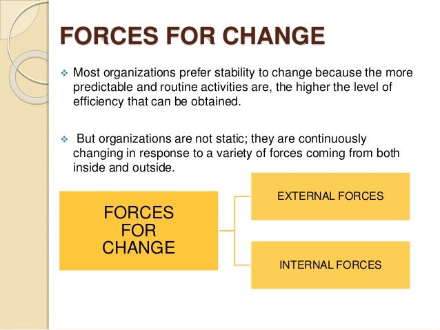 forces for stability and change Start studying ob chapter 14 learn stability occurs when the kurt lewin's model of systemwide change that helps change agents diagnose the forces that drive.