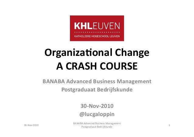 Organiza(onal  Change   A  CRASH  COURSE   BANABA  Advanced  Business  Management   Postgraduaat  Bedr...