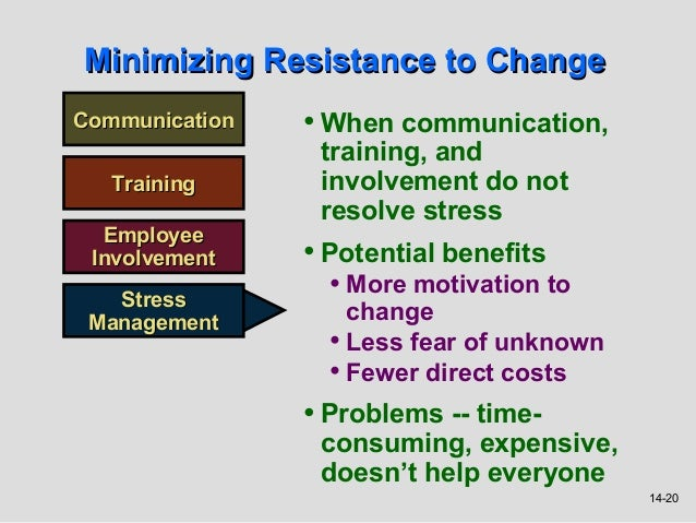 Minimizing Resistance to ChangeCommunication   • When communication,                 training, and   Training      involve...