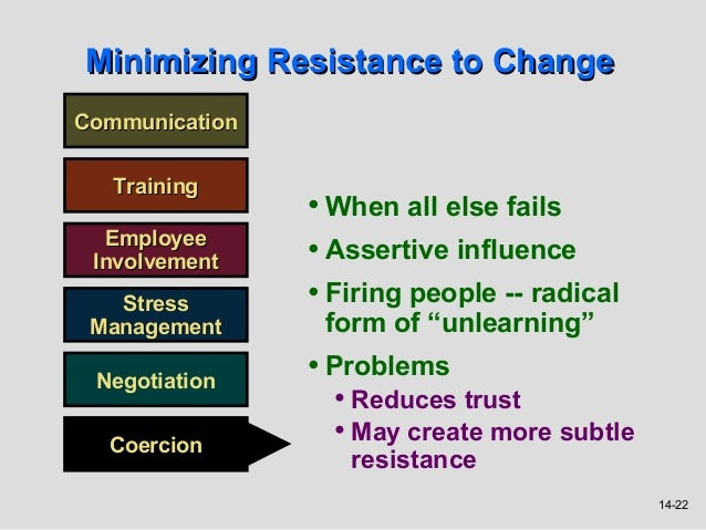 Minimizing Resistance to ChangeCommunication   Training                • When all else fails  Employee Involvement    • As...