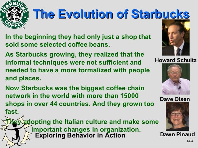 The Evolution of StarbucksIn the beginning they had only just a shop thatsold some selected coffee beans.As Starbucks grow...