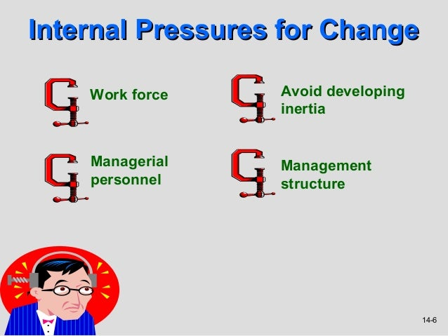 Internal Pressures for Change    Work force    Avoid developing                  inertia    Managerial    Management    pe...