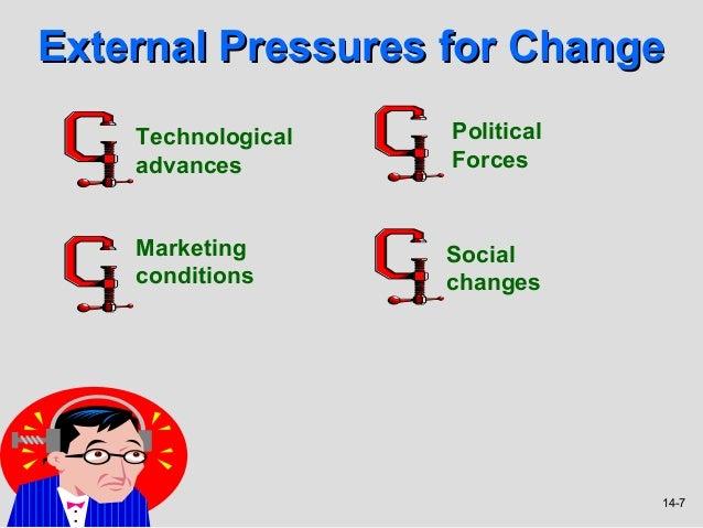 External Pressures for Change    Technological   Political    advances        Forces    Marketing       Social    conditio...