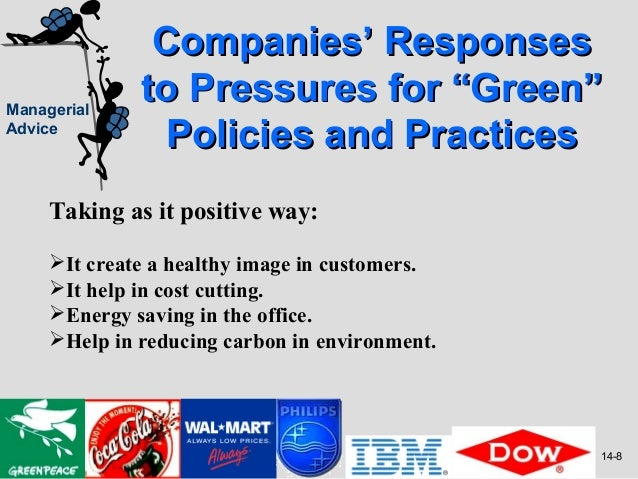 """Companies' ResponsesManagerial              to Pressures for """"Green""""Advice                Policies and Practices     Takin..."""